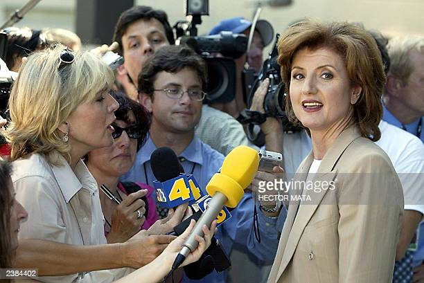 Political commentator and independent candidate for California governor Arianna Huffington speaks with reporters at the Los Angeles County...