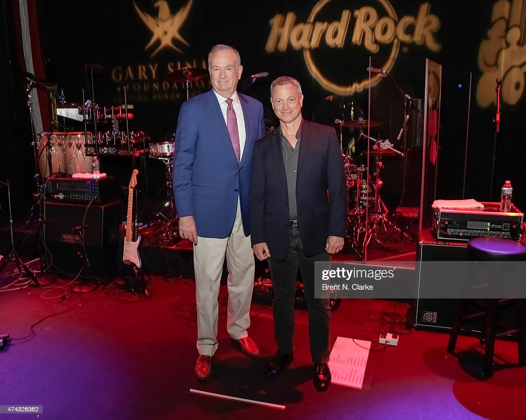 Political commentator Bill O'Reilly (L) and actor Gary Sinese attend the Rock The Boat Fleet Week Kickoff Concert held at Hard Rock Cafe, Times Square on May 21, 2015 in New York City.
