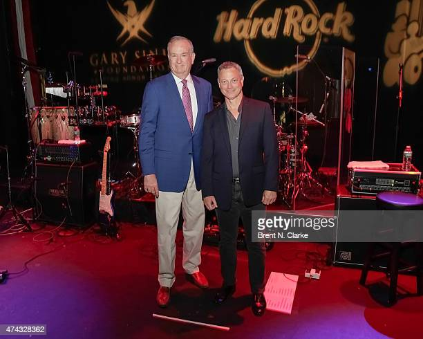 Political commentator Bill O'Reilly and actor Gary Sinese attend the Rock The Boat Fleet Week Kickoff Concert held at Hard Rock Cafe Times Square on...
