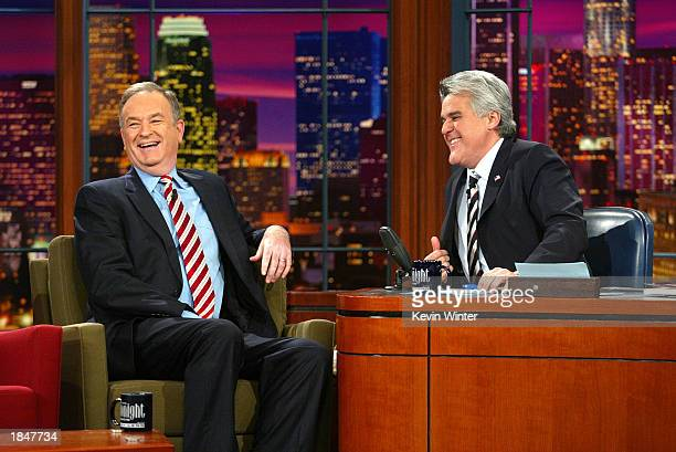 "Political commentator Bill O'Reilly appears on ""The Tonight Show with Jay Leno"" at the NBC Studios on March 13, 2003 in Burbank, California."