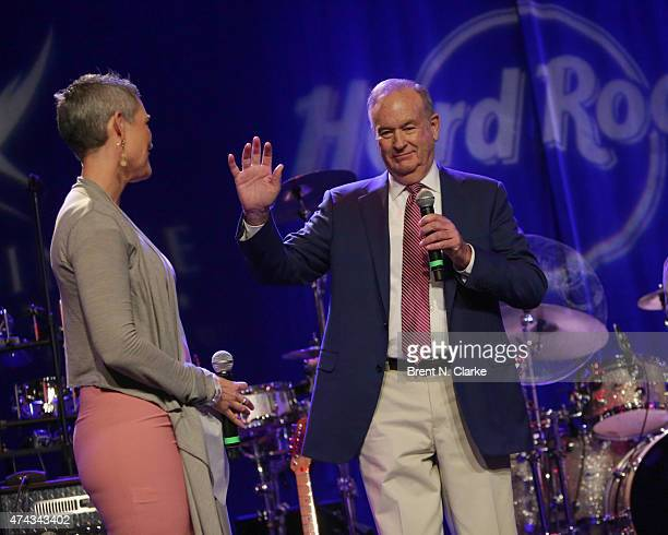 Political commentator Bill O'Reilly speaks on stage as television journalist Jennifer Griffin looks on during the Rock The Boat Fleet Week Kickoff...