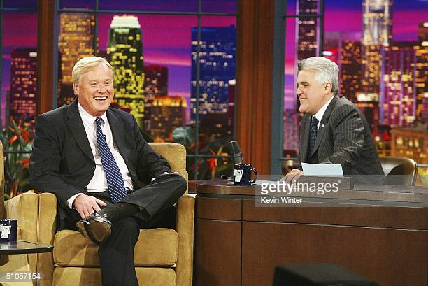 Political commentator Chris Matthews appears on 'The Tonight Show with Jay Leno' at the NBC Studios on July 13 2004 in Burbank California