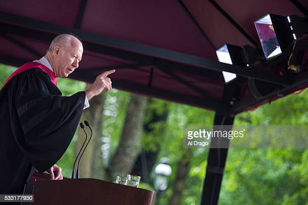STATES MAY 21 Political Commentator David Gergen speaks out against North Carolina House Bill 2 while giving the commencement address at Elon...