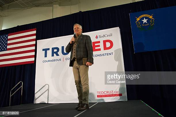 Political commentator Glenn Beck endorses Republican presidential candidate, Sen. Ted Cruz during a rally at the Boys & Girls Club of Truckee Meadows...