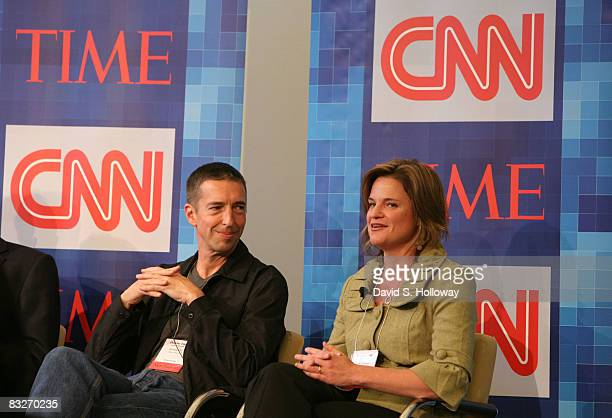 Political Commentator Ron Reagan Jr and Senior Vice President of Communications for Center for American Progress Jennifer M Palmieri speak during...