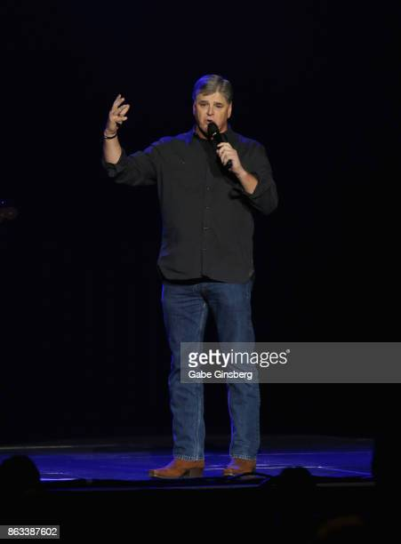Political commentator Sean Hannity speaks during 'Vegas Strong A Night of Healing' at the Orleans Arena on October 19 2017 in Las Vegas Nevada The...