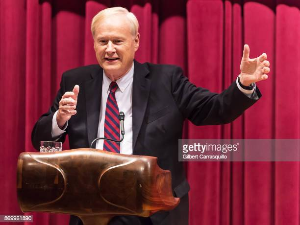 Political commentator talk show host and author Chris Matthews discusses 'Bobby Kennedy A Raging Spirit' at Free Library of Philadelphia on November...