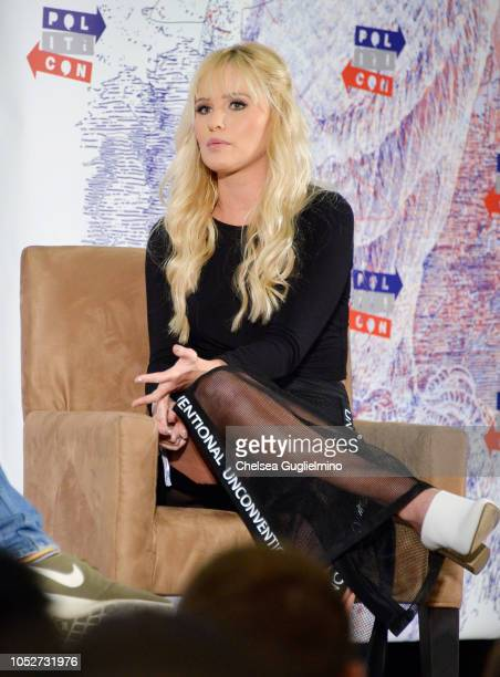 Political commentator Tomi Lahren speaks during Politicon 2018 at Los Angeles Convention Center on October 21 2018 in Los Angeles California