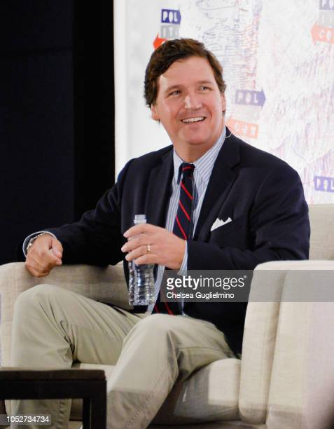 Political commentator Tucker Carlson speaks during Politicon 2018 at Los Angeles Convention Center on October 21 2018 in Los Angeles California