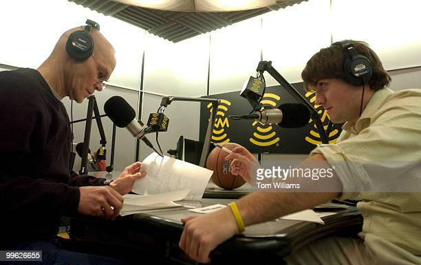 Political consultant James Carville left and Luke Russert son of NBC News' Tim Russert take a break from taping their new sports radio show at XM...