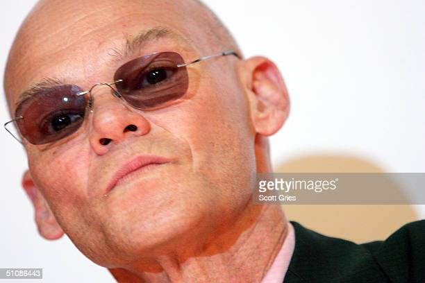Political consultant James Carville stands on stage during a press conference to announce plans for the Citizen Change Campaign at NYU's Kimmel...