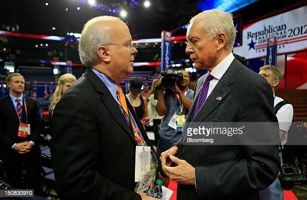 Political consultant Karl Rove left speaks with Senator Orrin Hatch a Republican from Utah at the Republican National Convention in Tampa Florida US...