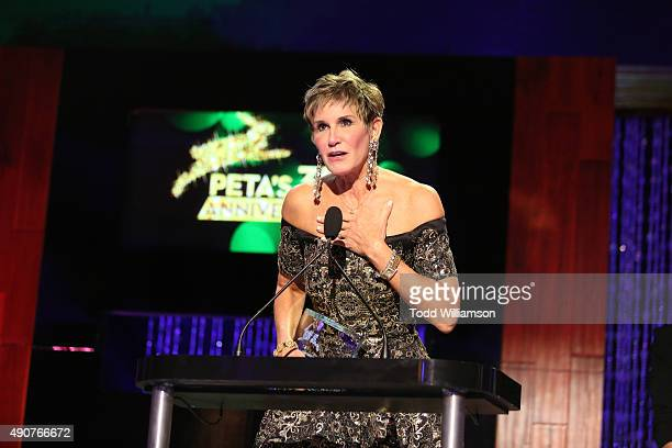 Political consultant Mary Matalin accepts the Vegan award onstage at PETA's 35th Anniversary Party at Hollywood Palladium on September 30 2015 in Los...
