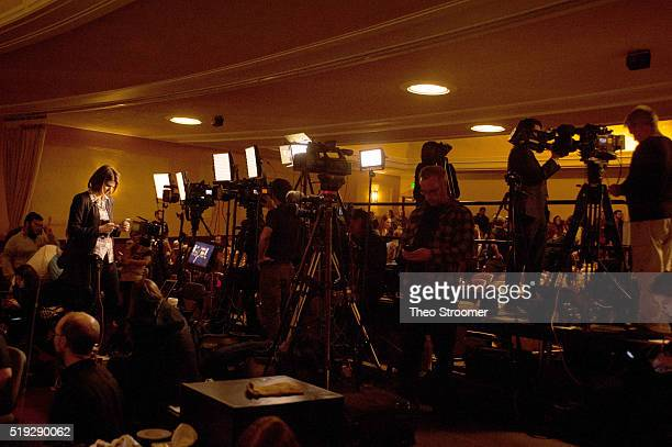 MSNBC political correspondent Kasie Hunt preps before a campaign event at the University of Wyoming Arts Sciences Auditorium on April 5 2016 in...