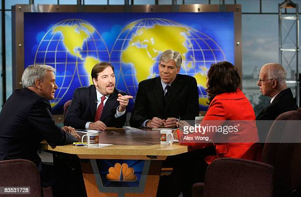 NBC political director Chuck Todd speaks as moderator Tom Brokaw NBC News Chief White House Correspondent David Gregory host of NPR's 'All Things...