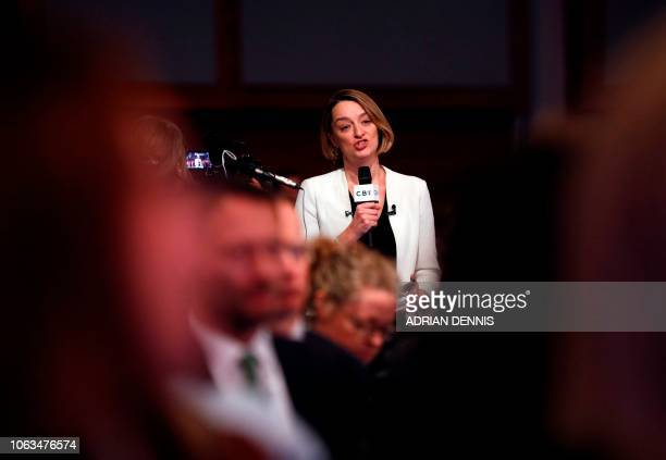BBC Political Editor Laura Kuenssberg asks a question to Britain's Prime Minister Theresa May during the annual Confederation of British Industry...