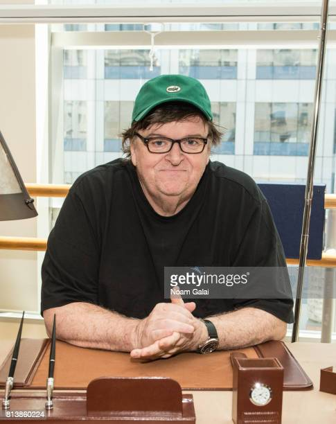 Political icon Michael Moore attends rehearsals for his Broadway debut in 'The Terms Of My Surrender' photographed at New 42nd Street Studios on July...