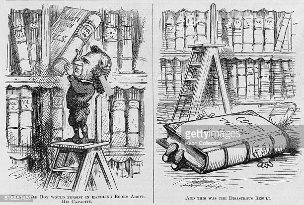 A political illustration from 'Harper's Weekly' made during the impeachment trial of President Andrew Johnson referring to his defiance of the...