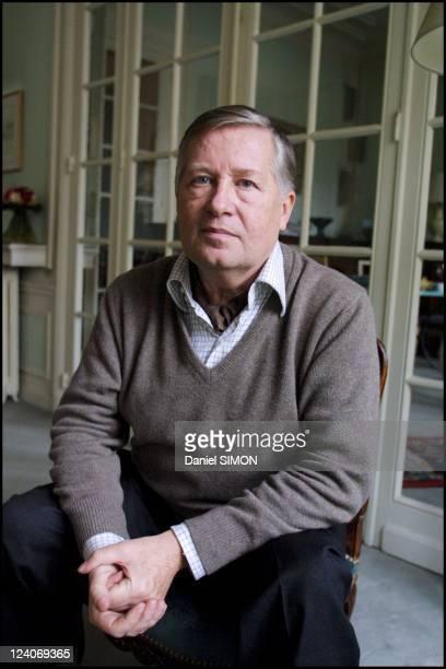 Political journalist Alain Duhamel at home In France On February 05 2002