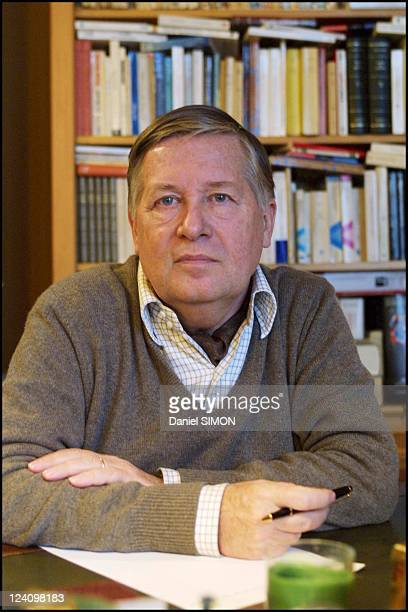 Political journalist Alain Duhamel at home In France On February 05 2002
