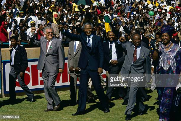 Political leaders during the welcome home rally for Nelson Mandela and the ANC From left are Joe Slovo Nelson Mandela Jacob Zuma Alfred Nzo and...