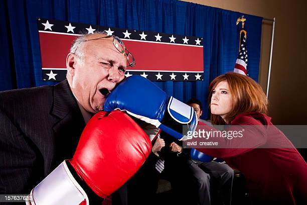 political lights out - funny boxing stock photos and pictures