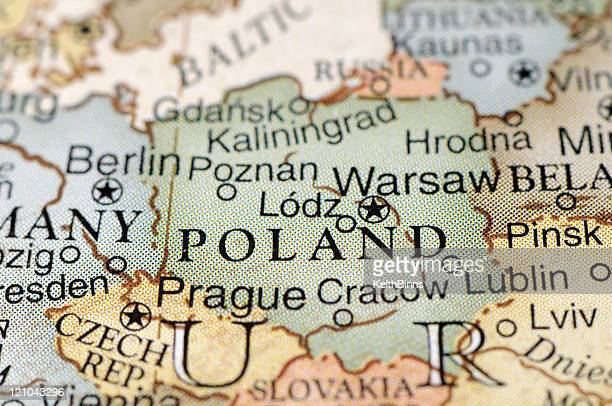 political map focused on poland - poland stock pictures, royalty-free photos & images