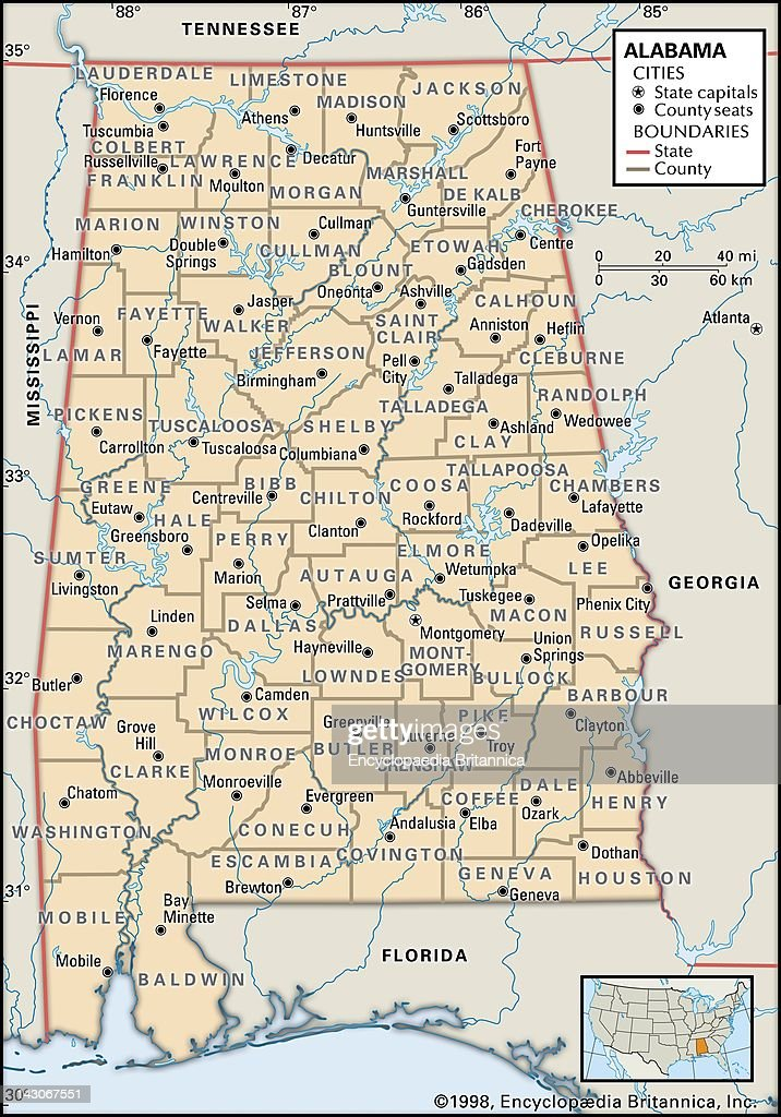 Political Map Of Alabama, Political Map Of The State Of Alabama ...