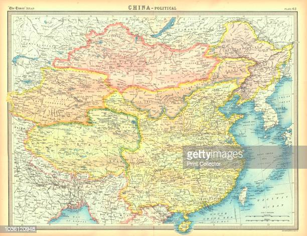 Political map of China. Map showing China, Mongolia, East Turkestan, Tibet and the Korean peninsula. Plate 62 from The Times Atlas. Artist Unknown.