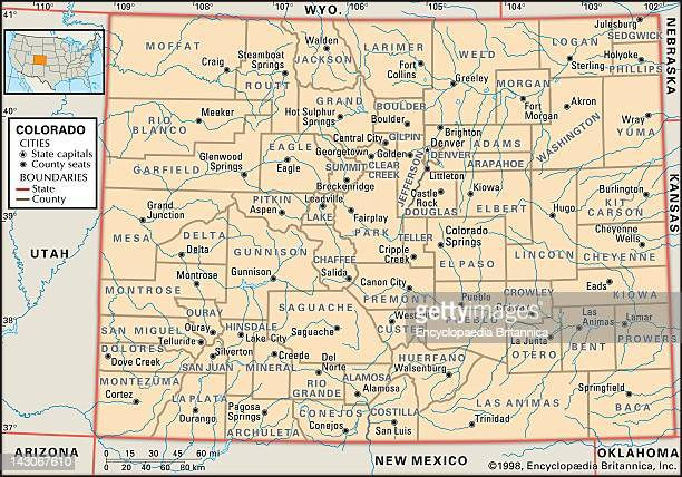 Political Map Of Colorado Political Map Of The State Of Colorado Showing Counties And County Seats