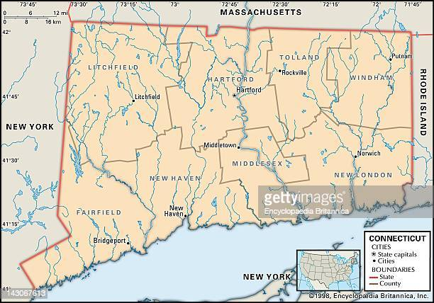 Political Map Of Connecticut Political Map Of The State Of Connecticut Showing Counties And County Seats