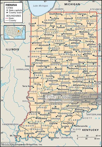 Political Map Of Indiana Political Map Of The State Of Indiana Showing Counties And County Seats