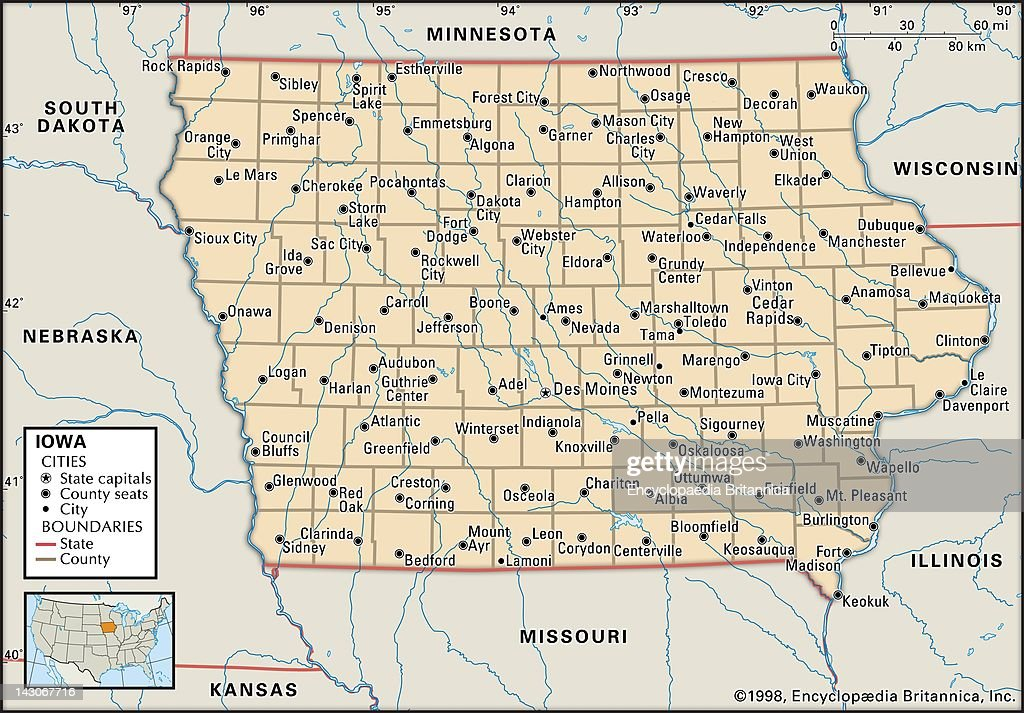 Political Map Of Iowa, Political Map Of The State Of Iowa ...