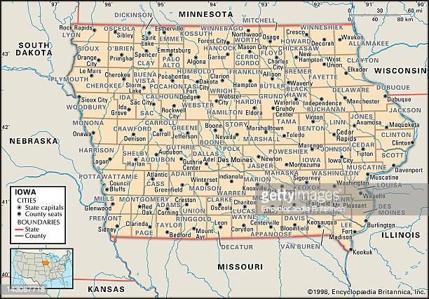 County Map Iowa Stock-Fotos und Bilder |