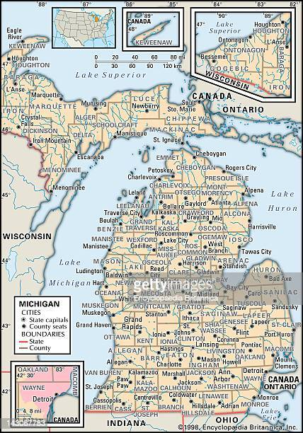 Political Map Of Michigan, Political Map Of The State Of Michigan Showing Counties And County Seats.