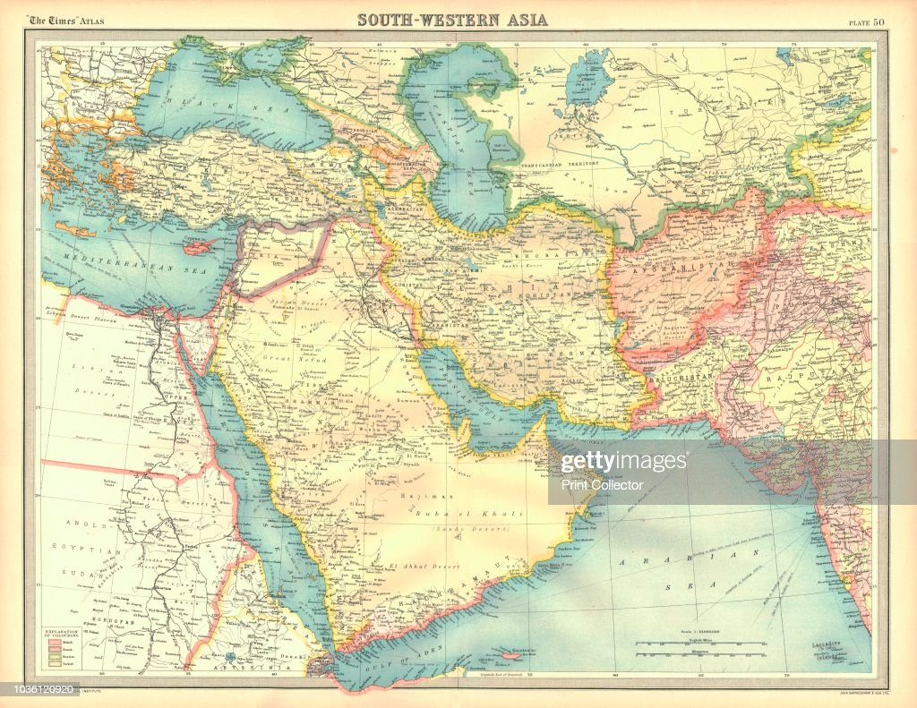 Political map of South Western Asia. Map of the Near and Middle East ...