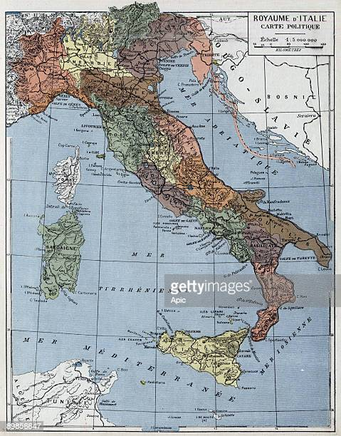 Political map of the Kingdom of Italy from the book Atlas Geographie 1926