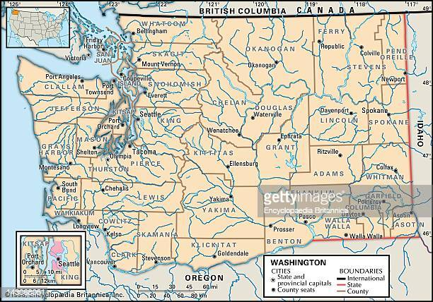 Political Map Of Washington State, Political Map Of The State Of Washington State Showing Counties And County Seats.