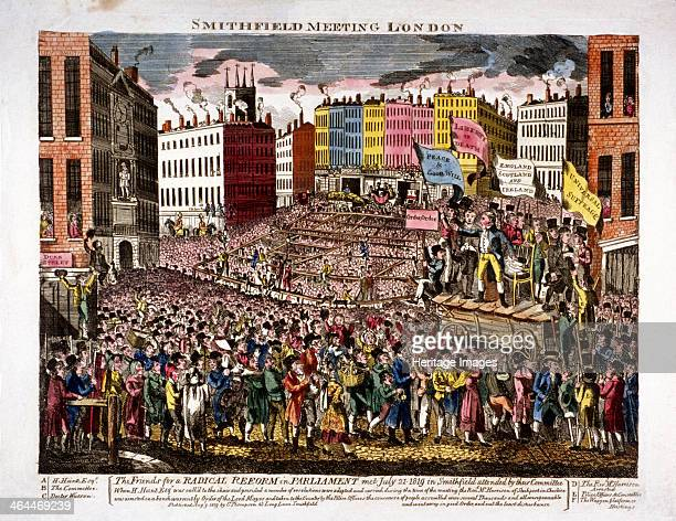 Political meeting at Smithfield London 1819 A meeting of radical reformers presided over by Henry Hunt on July 21st 1819 People crowd towards the...