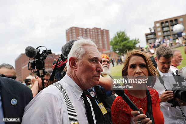 Political operative Roger Stone attends a rally on the first day of the Republican National Convention on July 18 2016 in Cleveland Ohio An estimated...