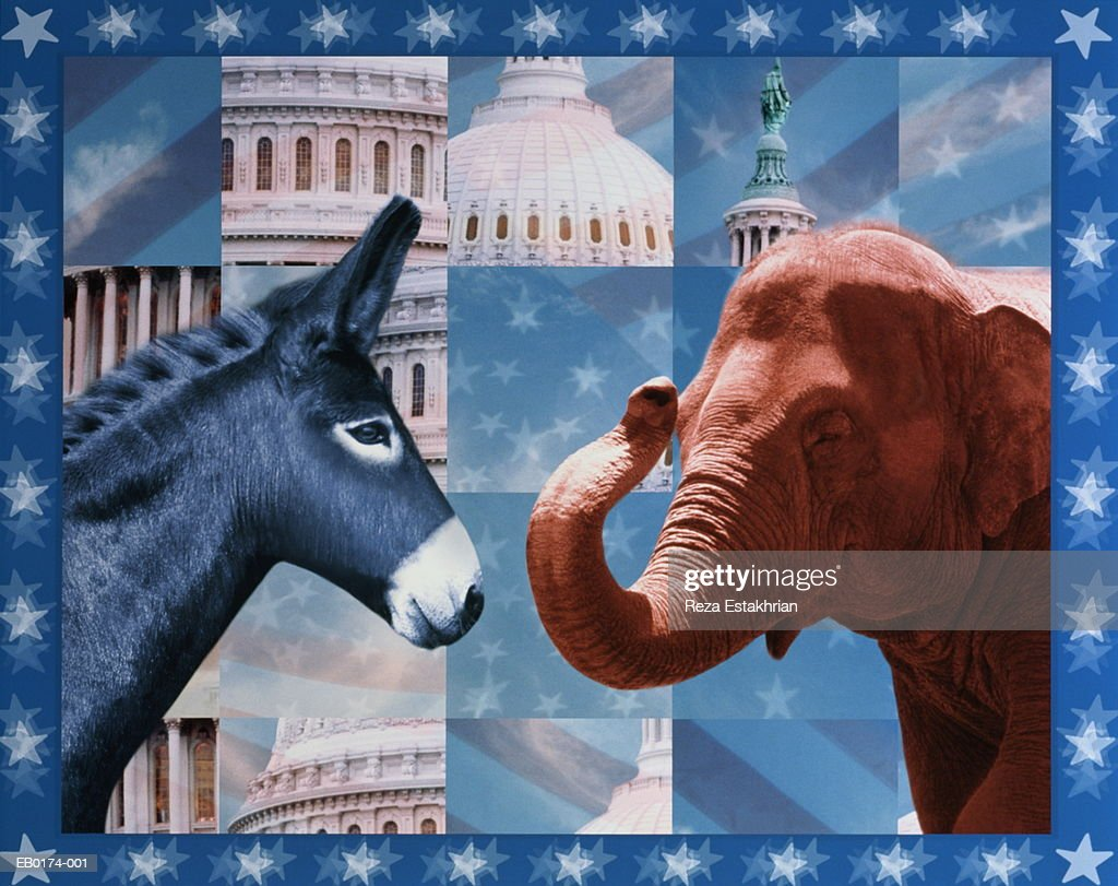 US political parties represented by donkey and elephant (Composite) : Stock Photo