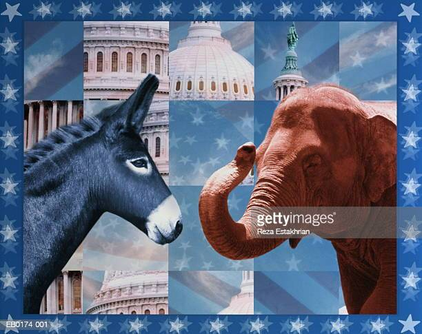US political parties represented by donkey and elephant (Composite)