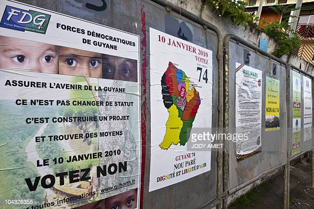 Political party billboards for the January 10 2010 referendum on the status and constitutional changes in the French South American territory of...