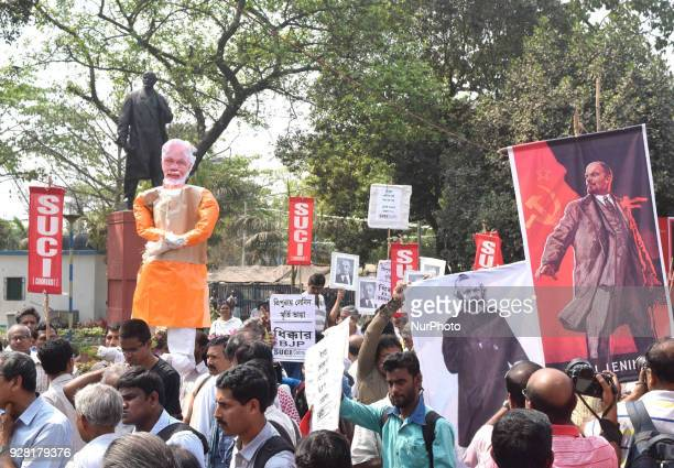 Political Party part in the rallyBran Indian Prime Minister Narendra Modi Effigy and protest against vandalising of Lenin statute in Tripura on March...