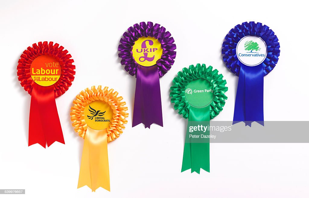 Political party rosettes : Stock Photo