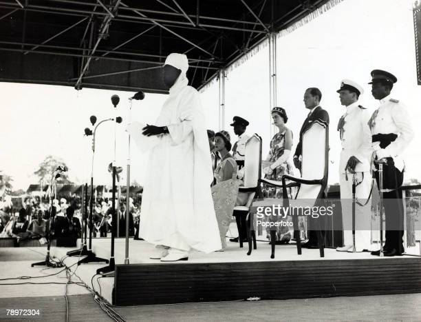 7th July 1964 Sir Alhaji Abubakar Tafawa Balewa the Prime Minister of Nigeria reads the formal adress at the Nigeria independence celebrations Alhaji...
