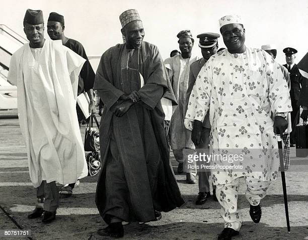 7th July 1964 Sir Alhaji Abubakar Tafawa Balewa centre the Prime Minister of Nigeria arrives in London for the Commonwealth Prime Minister's...