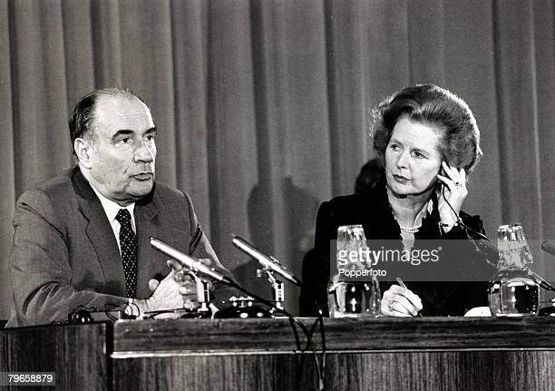 11th September 1981 French President Francois Mitterand and British Prime Minister Margaret Thatcher at a Downing Street press conference
