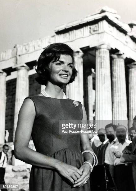 14th June 1961 Athens America's First Lady Jacqueline Kennedy the wife of President Kennedy pictured at the Acropolis during a visit to Greece