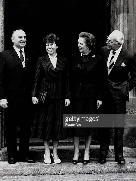16th December 1984 British Prime Minister Margaret Thatcher with husband Denis right and visitors to Chequers Russian Politburo member Mikhail...
